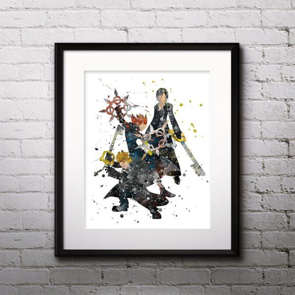 Roxas Watercolor Print, Axel Art, Xion Painting, Kingdom Hearts Art, Kingdom Hearts Painting, Nursery, Kids Room Decor, Wall Art
