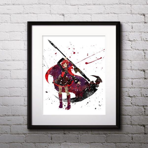 Ruby Painting, RWBY Watercolor Print, RWBY Painting, RWBY Poster, Anime, Japanese Art, Manga Art, Nursery, Kids Room Decor, Wall Art
