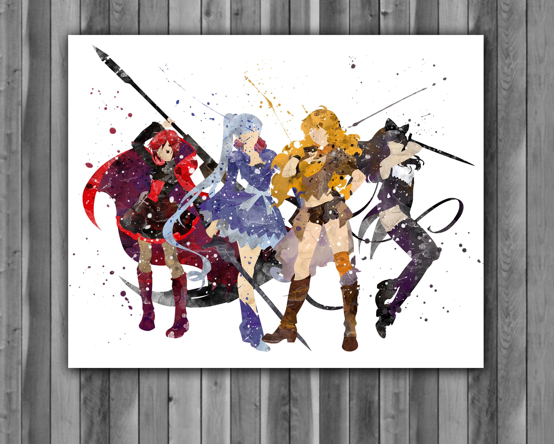 Rwby Watercolor Print Rwby Painting Rwby Poster Anime Japanese Art Manga Art Nursery Kids Room Decor Wall Art