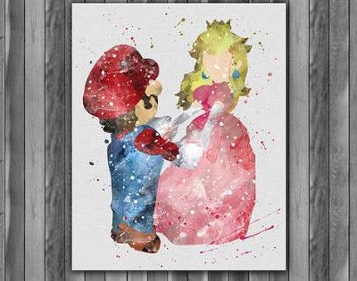 Super Mario Princess Peach Watercolor Print, Nintendo Art, Princess Peach, Nursery, Kids Room Decor, Wall Art