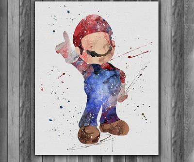 Super Mario Watercolor Print, Nintendo Art, Animal Art, Nursery, Kids Room Decor, Wall Art