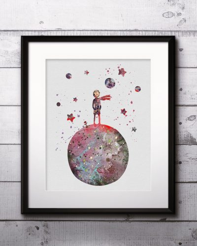 The Little Prince Watercolor Print, The Little Prince Painting, The Little Prince Poster, Nursery, Kids Room Decor, Wall Art