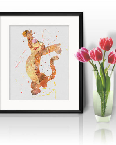 Tigger Watercolor Print, Winnie the Pooh Disney Art, Animal Art, Nursery, Kids Room Decor, Wall Art