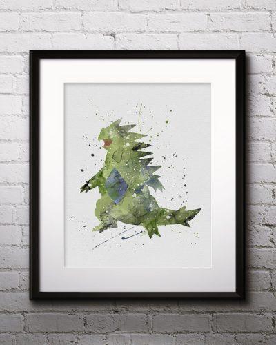 Tyranitar Watercolor Print, Tyranitar Art, Pokemon Tyranitar, Pokemon Painting, Anime Art, Nursery, Kids Room Decor, Wall Art