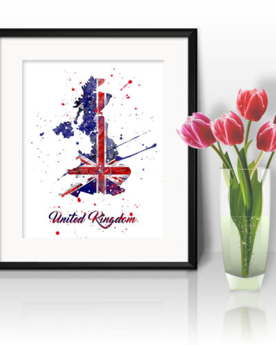 UK Map Watercolor Print, UK Map Art, United Kingdom Map Painting, UK Map Poster, Nursery, Kids Room Decor, Wall Art
