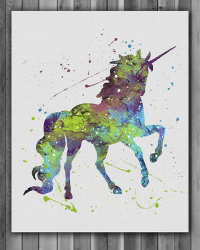 Unicorn Watercolor Print, Unicorn Fantasy Art, Disney Art,  Unicorn Painting, Nursery, Kids Room Decor, Wall Art