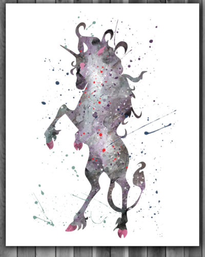 Unicorn Watercolor Print, Unicorn Fantasy Art, Unicorn Painting, Nursery, Kids Room Decor, Wall Art
