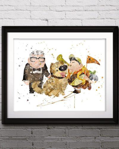 UP Balloon Watercolor Print, Carl Fredricksen , Russell, UP Pixar, Nursery, Kids Room Decor, Wall Art