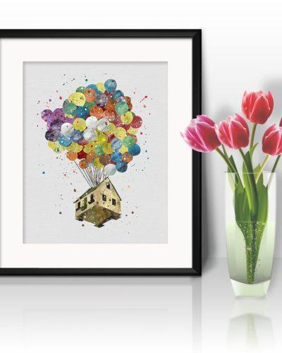UP Balloon Watercolor Print, Kevin and Dug Painting , Kevin Dug Print, UP Pixar, Nursery, Kids Room Decor, Wall Art