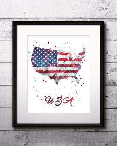 USA Map Watercolor Print, USA Map Art, USA Map Painting, Usa Map Poster, Nursery, Kids Room Decor, Wall Art