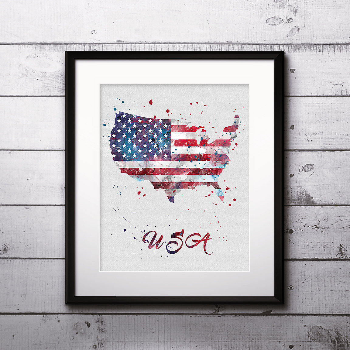 Usa Map Watercolor Print Usa Map Art Usa Map Painting Usa Map