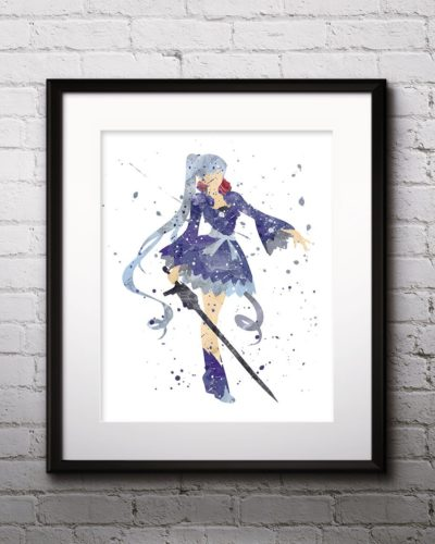 Weiss Painting, RWBY Watercolor Print, RWBY Painting, RWBY Poster, Anime, Japanese Art, Manga Art, Nursery, Kids Room Decor, Wall Art