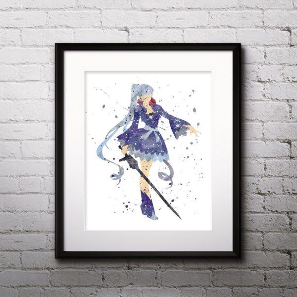Weiss Painting, RWBY Watercolor Print, RWBY Painting, RWBY Poster, Anime, Japanese Art, Manga Art, Nursery, Kids Room Decor, Wall Art