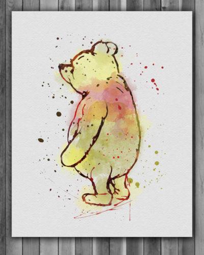 Winnie The Pooh Watercolor Print, Winnie the Pooh Disney Art, Winnie the Pooh Vintage Art, Nursery, Kids Room Decor, Wall Art