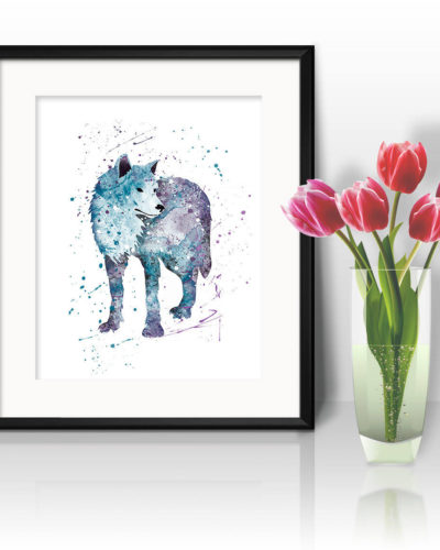 Wolf Watercolor Print, Wolf Art, Wolf Painting, Wolf Poster, Animal Art, Rhino, Nursery, Kids Room Decor, Wall Art