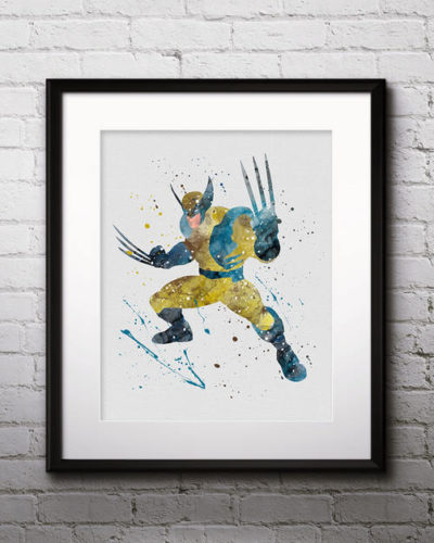 Wolverine Watercolor Print, Wolverine Art, Marvel Comics Art, Superhero Art, Nursery, Kids Room Decor, Wall Art
