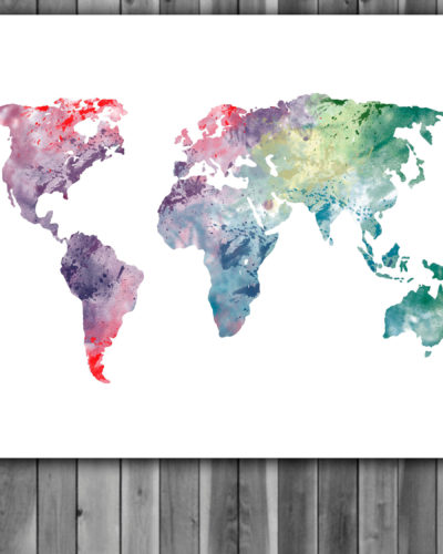 World Map Watercolor Print, World Map Art, World Map  Painting, World Map Poster, Nursery, Kids Room Decor, Wall Art