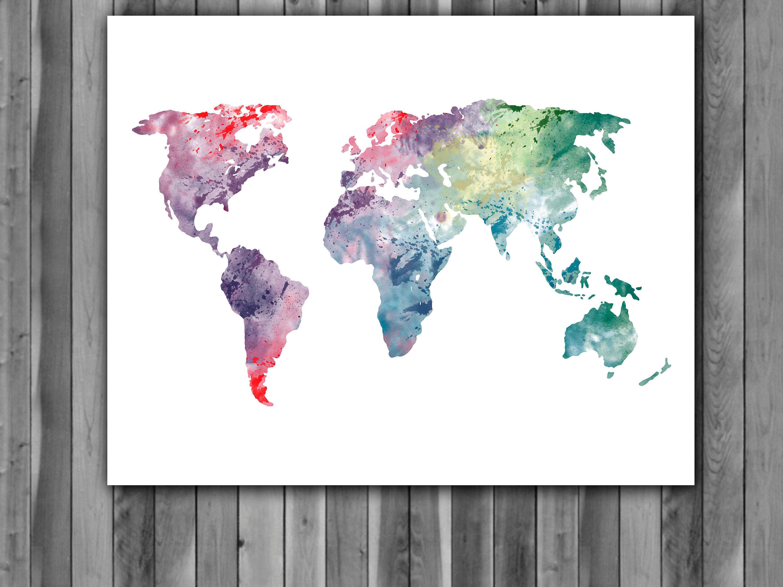 World Map Watercolor Print World Map Art World Map Painting World