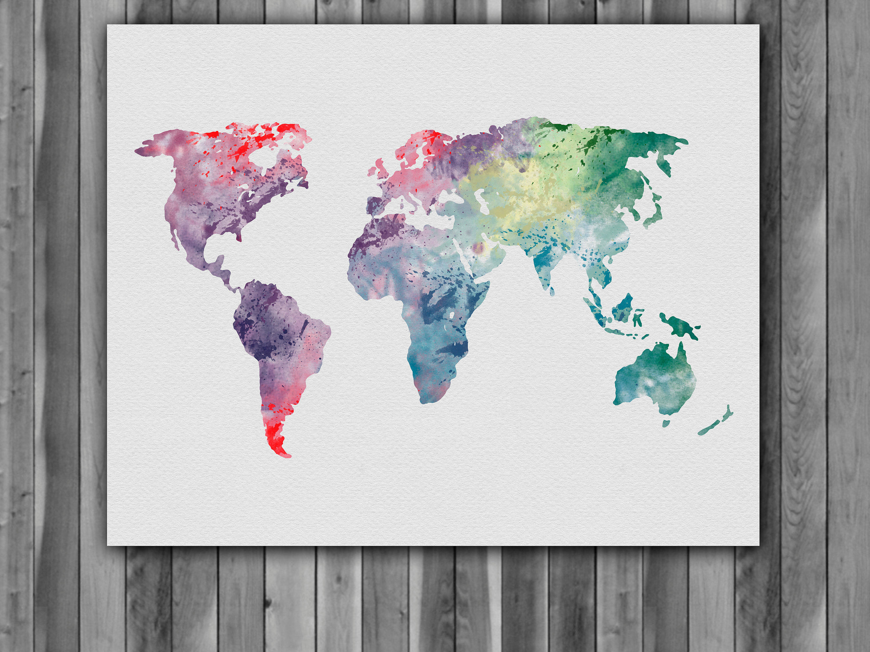 World Map Watercolor Print, World Map Art, World Map Painting, World Map  Poster, Nursery, Kids Room Decor, Wall Art