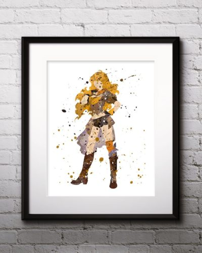 Yang Painting, RWBY Watercolor Print, RWBY Painting, RWBY Poster, Anime, Japanese Art, Manga Art, Nursery, Kids Room Decor, Wall Art