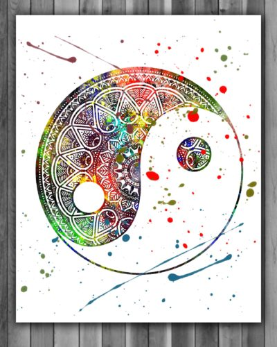 Yin and Yang Watercolor Print, Yin and Yang Painting, Yin and Yang Art, Yin and Yang Poster, Spiritual Decor, Wall Art