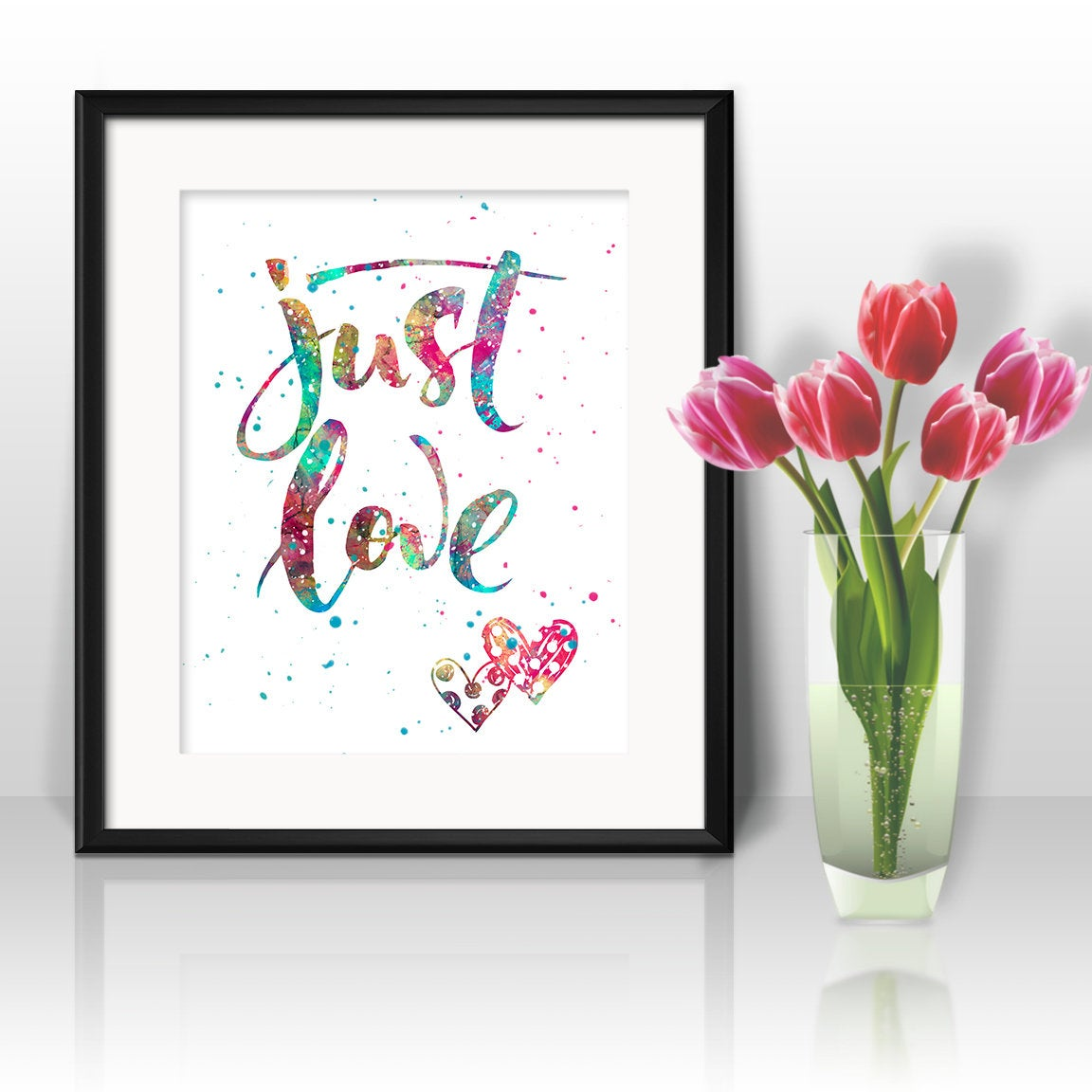 Inspirational Quote Watercolor Print Love Print 15 Motivational Quote Romantic Painting Valentines Painting Love Art Wall Art